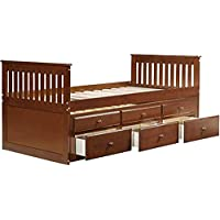 On Every Baby Captain's Bed Twin Daybed with Trundle Bed and Storage Drawers (Walnut)