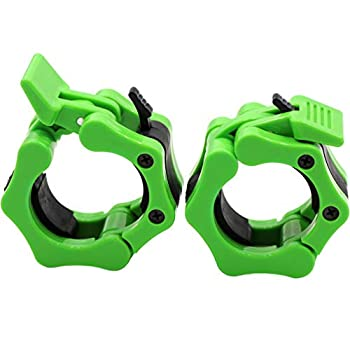 Barbell Collars 2 Inch Quick Release Pair Locking 2  Pro Olympic Bar Clip Lock Barbell Clamp 45lbs Weights Plates Clips Workout for Weightlifting Fitness Training  Neon-Green