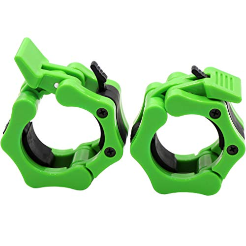"""Barbell Collars 2 Inch Quick Release Pair Locking 2"""" Pro Olympic Bar Clip Lock Barbell Clamp 45lbs Weights Plates Clips Workout for Weightlifting Fitness Training (Neon-Green)"""