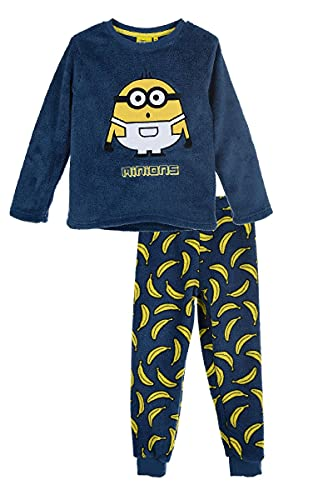 Les Minions - Pijama largo polar para niño, color azul de 4 a 10 años, azul, 6 años