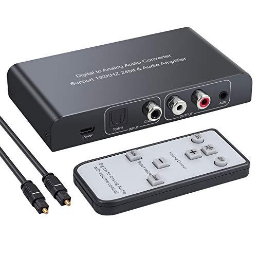DAC Converter 192 kHz Convertidor de Audio Digital a Analógico con Control Remoto Toslink Digital Coaxial a Estéreo Analógico L/R RCA Jack 3,5 mm con Regulador Volumen