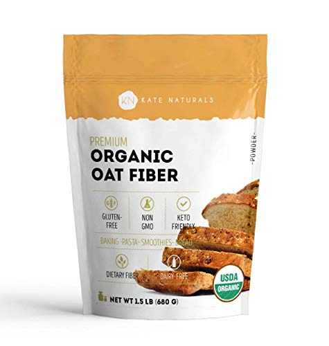 Organic Oat Fiber Powder - Kate Natural. Gluten-Free, Non-GMO. Perfect for Keto Diet & High in Fiber. Resealable Bag. Product of USA (1.5 LB)