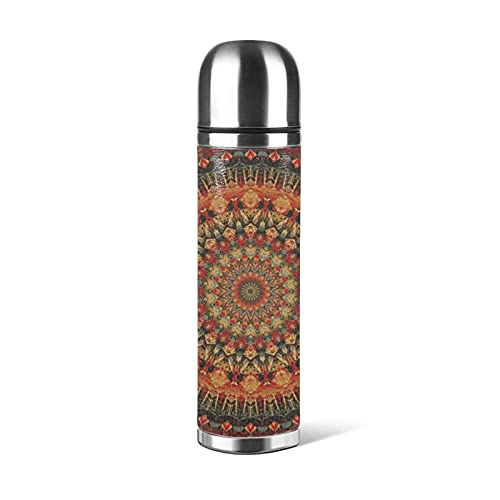 Bottiglia d'acqua in acciaio inossidabile Mandala, tazza termica Tazza sottovuoto Thermos Flask Tazza da caffè Tazze da viaggio 500 ML
