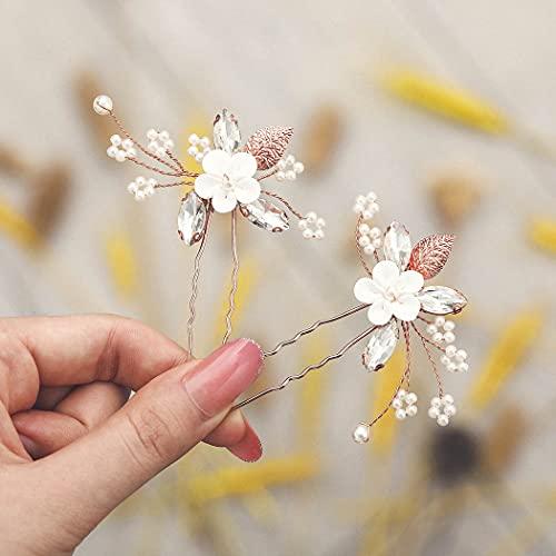 Runmi Froal - Pasadores para el pelo de boda con cristal dorado, accesorios para el pelo de novia, para mujeres y niñas (paquete de 2)