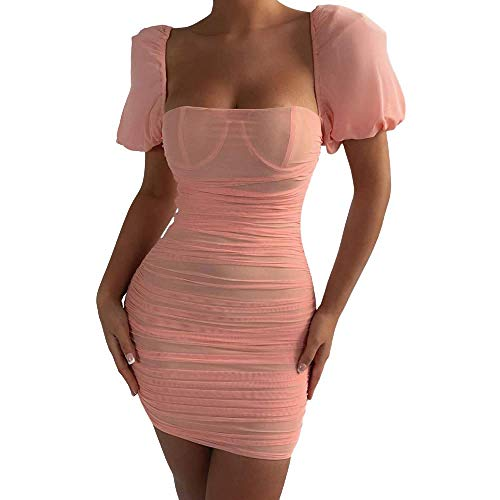 Générique Robe pour Femme Printemps Sexy Net Fil Perspective Col carré Manches Bouffantes Discothèque Jupe Courte Medium
