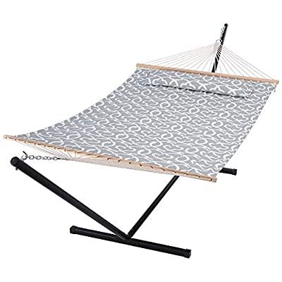 SUNCREAT 55 Inch Extra Large Double Hammock with Stand, 475lbs Capacity, Outdoor Portable Hammock with Hardwood Spreader Bar, Extra Large Pillow, Grey