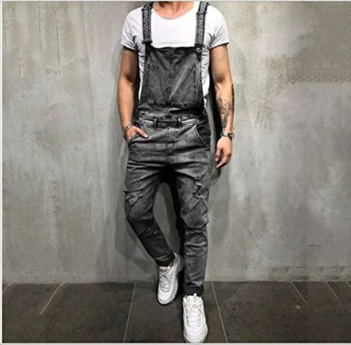 WoJogom Fashionable Men Torn Jeans Jumpsuit Street Distressed Denim Bib Overalls for Men Streetwear Gray