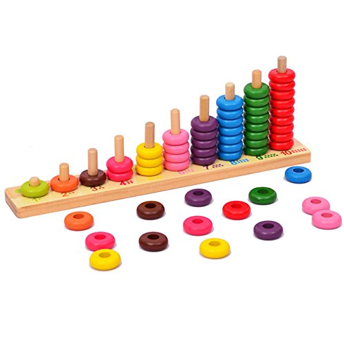 Wooden Educational Counting Toys - Math Abacus Number Learning and Counting Stacker Stacking Game Toy for Kids 3 year old and up (with 55 Beads)