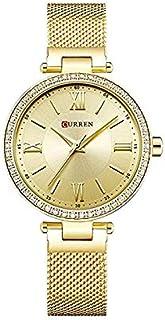 Curren 9011 Quartz Movement Round Dial Stainless Steel Strap Waterproof Women Wristwatch - Gold