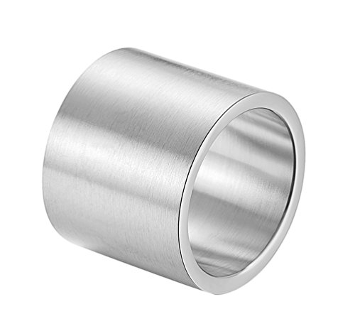 ALEXTINA Men's 19MM Wide Stainless Steel Rings Wrap Plain Band Flat Pipe Cut Silver Size Z+1