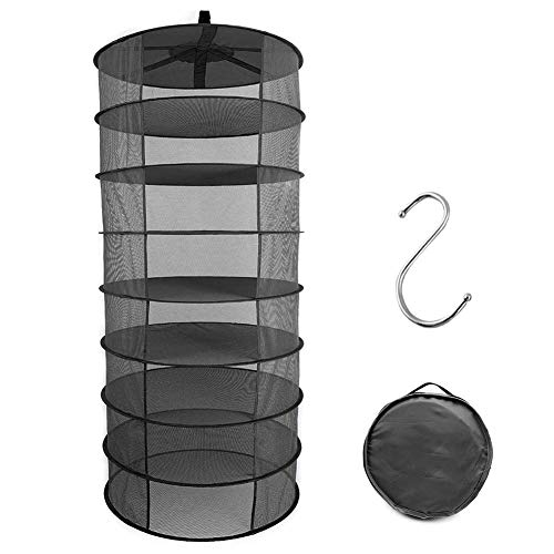 GLBSUNION Herb Drying Rack Hanging Net Dryer 8 Layer 2ft Black Collapsible Durable Mesh Hydroponics Dry Rack Net, Bonus Hook and Storage Bag for Gardens Orchards Grow Tents Closets, NO Zippers