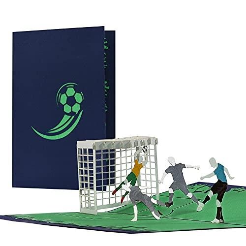 Karte Fussball BLAU für Fans von Schalke 04, Hertha BSC, HSV, uvm. | Geburtstagskarte oder Gutschein für Fußballfan | Einladungskarten Geburtstag Kinder, H36