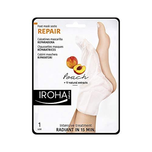 Iroha Nature Calcetines Reparadores para Pies, con Melocotón, Pomelo y Vitamina E, 2 calcetines para un uso | Mascarilla Reparadora Intensiva Pies
