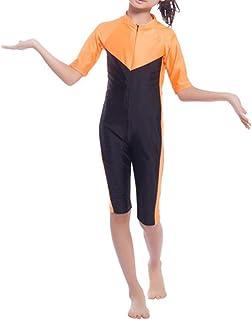 b3d169b058da4 YEESAM Girls Kids One Piece Modest Muslim Burkini Swimsuit with Half Sleeve