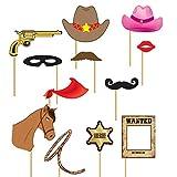 Guirca- Set Photocall Cowboy 12 Piezas, Color Negro (Müller & Küssner GbR GU_7206)