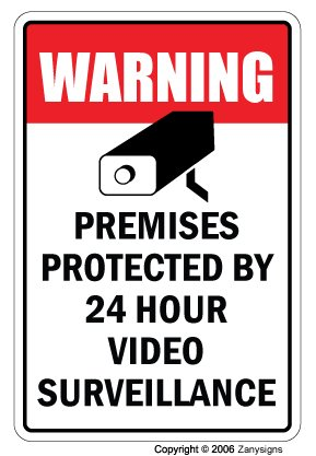 "VIDEO SURVEILLANCE Sign Property Protected 24 Hour security protection warning | Indoor/Outdoor | 17"" Tall Plastic Sign 