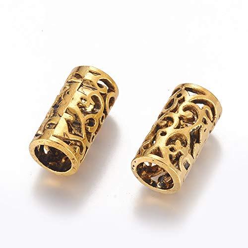 10 cuentas tibetanas doradas de columna europeas de 21,5 x 11 mm, espaciadoras de agujeros grandes para pulseras, collares y bisutería: 8 mm