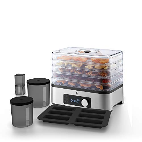 WMF Küchenminis Dörrautomat 10-teilig, Dörrgerät mit 5 Einlegefächer, 30-70°C, Timerfunktion, 24h Dörrzeit, 2 Aufbewahrungsboxen, Silikon-Müsliriegelform, bpa-frei, 220 Watt, edelstal matt