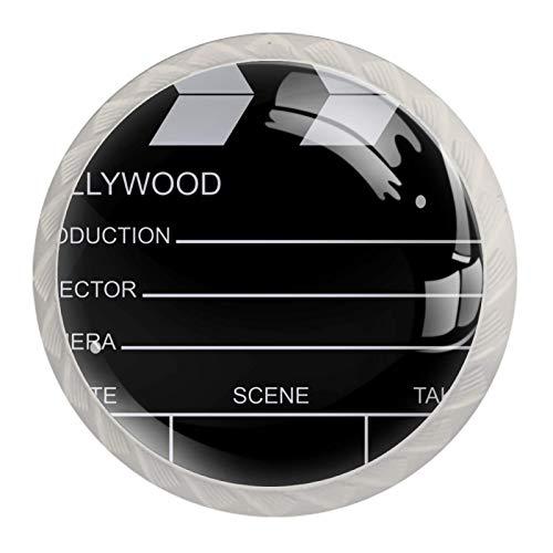 Pack de 4 pomos redondos de cristal para cajón de 30 mm para armarios y cajones, color negro
