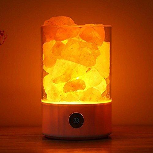 Veilleuses Lampe ¨¤ sel en Cristal anionique Naturel Himalayan USB Lampe de Chambre ¨¤ Coucher de Sant¨¦ et de Bien-¨ºtre Nightlight, 3