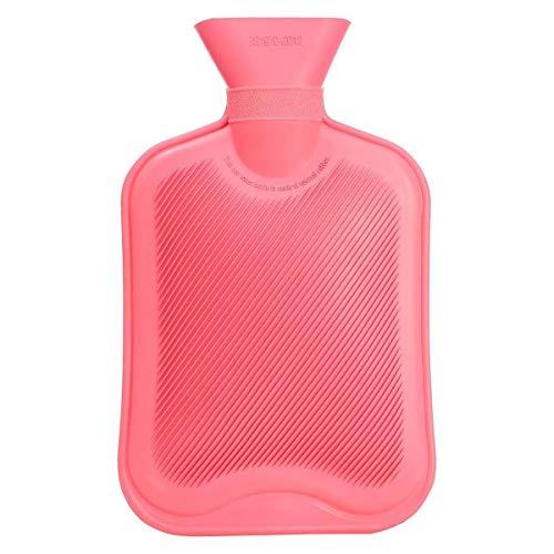 Alaskaprint 1X Wärmflasche ohne Bezug 2L Gummi sichere Wärmeflasche Kinder naturkautschuk Bettflasche Wärmekissen Flaschen Doppellamelle Langlebig- Pink