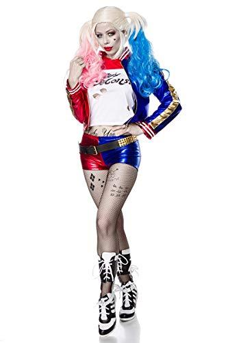 Mask Paradise 80068 Verrücktes Harlekin-Kostüm für Damen Faschingskostüm blau-rot-Weiss S (36)
