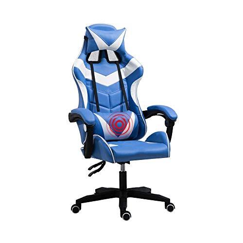 Stuhl Computerstuhl Multifunktions-Rennspielstuhl Eingebautes Latexkissen Ergonomie Hohe Rückenlehne Bürostuhlhöhe Höhenverstellbar mit Kopfstütze und Lordosenmassage, Blau Weiß