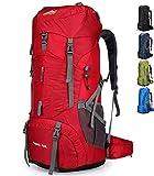 Doshwin 70L Mochila Camping Trekking Senderismo Viaje (con Funda Impermeable) (Rojo)