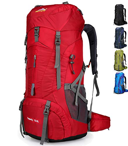 Doshwin Mochila Grande Camping Trekking Senderismo Viaje para Mujer Hombre / 70L (Rojo)