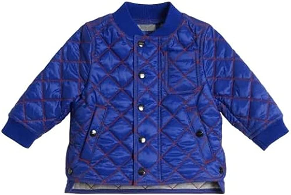 BURBERRY Boys Brilliant Blue Top Stitching Quilted Jacket, Brand Size 18M