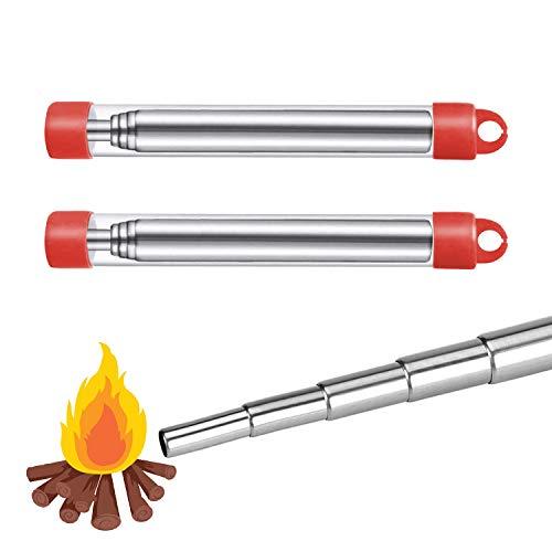 2 STK Blasrohr Feuer Edelstahl Teleskopbalg Schlag Tragbarer Feuerbalg für BBQ Camping Wandern Grill Überleben im Freien Werkzeuge (60CM)