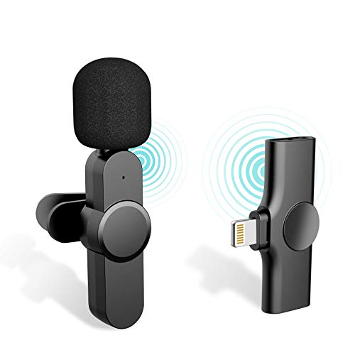 Plug-Play with 2 Clips Upgraded Lavalier Wireless Microphone for iPhone Youtubers,Facebook Live Stream,Vloggers,Interview,Auto-syncs Clip-on iPhone Lapel Mic for PC (NO APP or Bluetooth Needed)