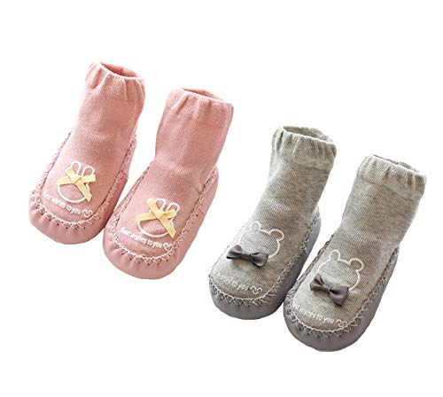 2 Paar Weiche Baby Hausschuhe Winter Socken Kleinkind Mädchen Hausschuhe Baumwolle Neugeborene Kinder Warme Lauflernschuhe Weiche Sohle rutschfest Krabbelschuhe, Rosa Grau, Größe 6-12 Monate