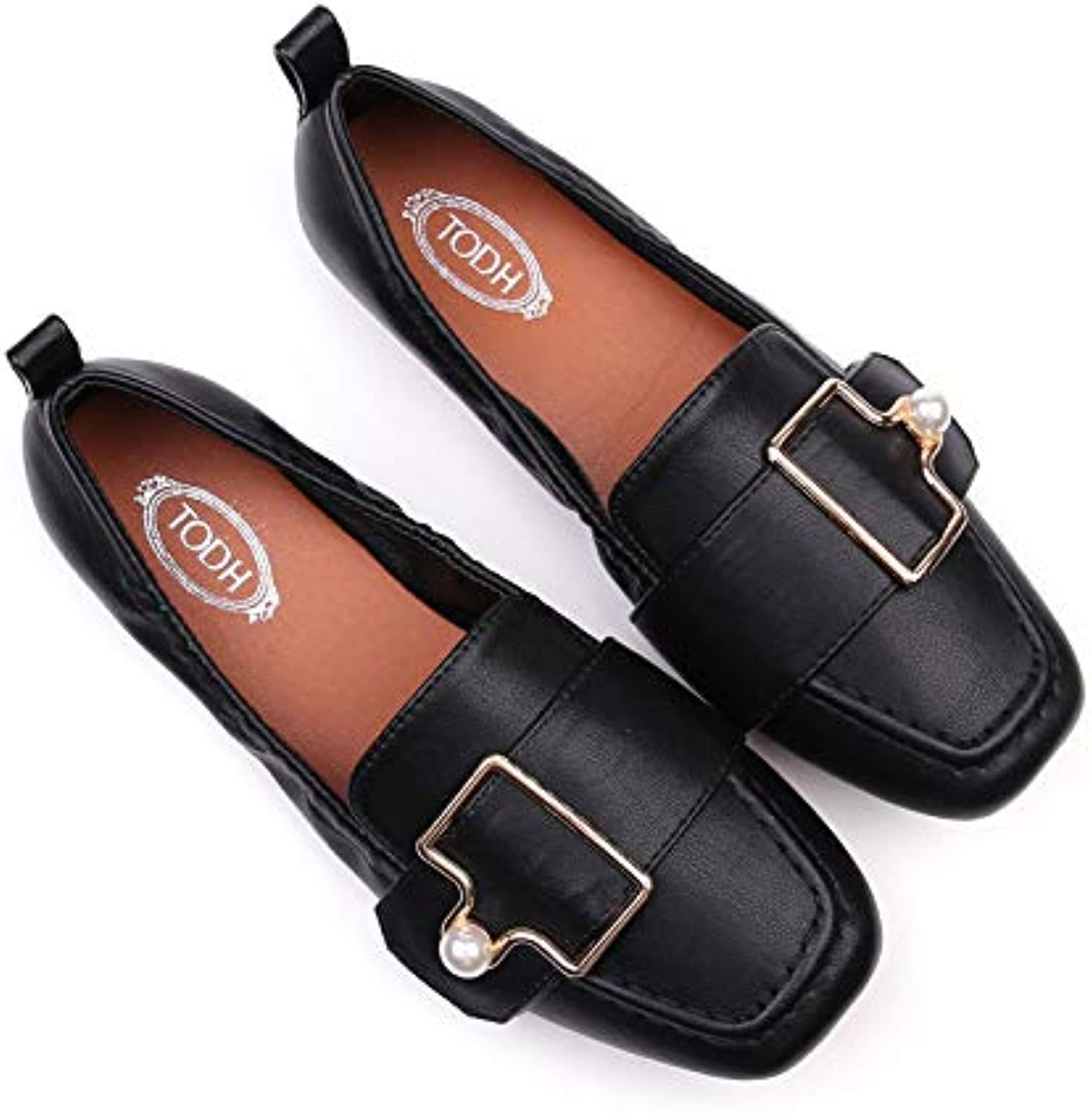 Meimeioo Penny Loafers Women's Slip On Flats Casual shoes Comfort Driving Leather Walk(Black-Lable 41 9.5 B(M) US Women)