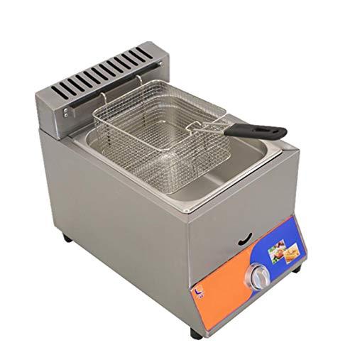 ZLYD Freidora de Gas de Acero Inoxidable de un Cilindro de 8 litros, fácil de Limpiar, para Uso doméstico y Comercial