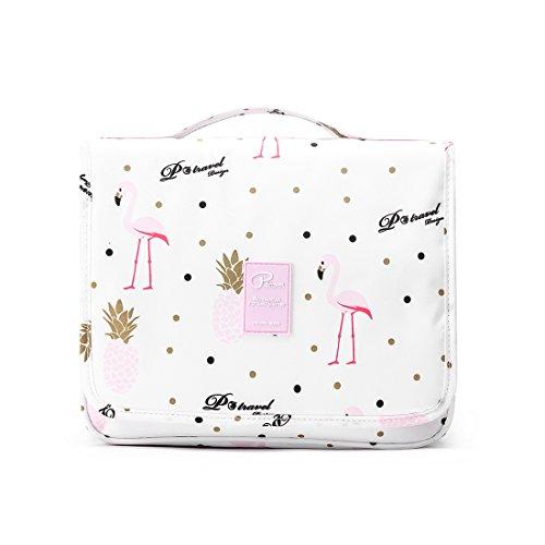Kulturbeutel zum Aufhängen für Männer & Frauen,Kosmetiktasche mit vielen Fächern Waschtasche Mädchen Pflegeprodukte Makeup,Groß Kulturbeutel mit Tragegriff Duschbeutel für Reisen (Flamingo)
