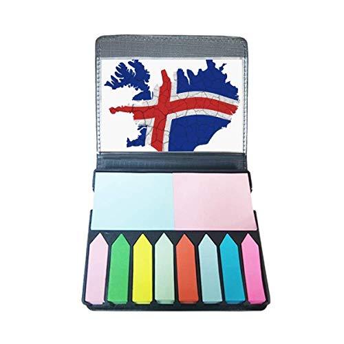 Kaart IJsland Abstract Vlag Patroon Zelf Stick Opmerking Kleur Pagina Marker Box