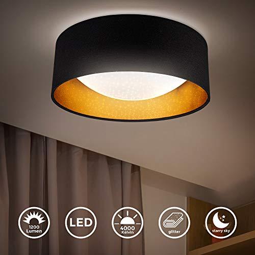 B.K.Licht I LED Stoff-Deckenleuchte mit Sternenhimmeleffekt I Schwarz-Gold I 12W LED-Platine I 1.200lm I 4.000K neutralweiße Lichtfarbe I Stofflampe I Ø32cm