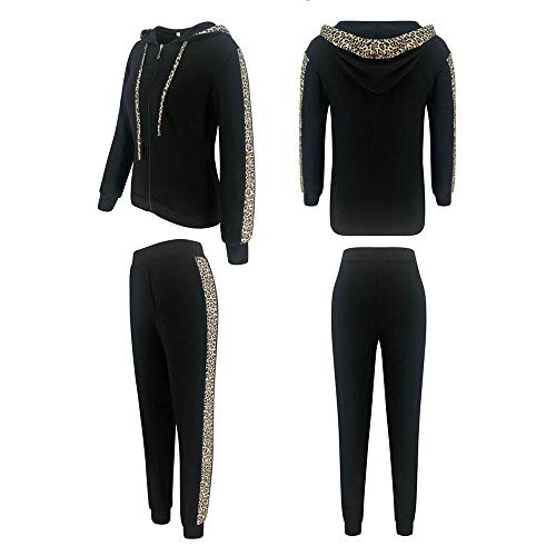 Geagodelia Chándal deportivo para mujer, de invierno, sudadera con capucha de manga larga + pantalones de leopardo de algodón para correr, gimnasio Negro XXL