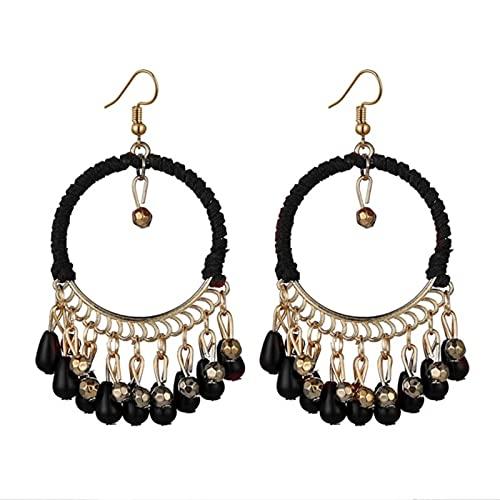 allforyou Boho Vintage Beads Tassel Pendientes de Boda India Jhumka Étnico Color Oro Color Redondo Pendientes de Gota Brincos Joyería