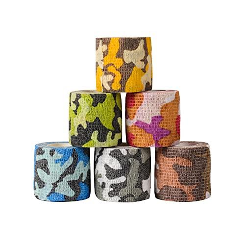 Houdao 6 Rollen Selbstklebender Verband Flex Selbsthaftende Bandagen Elastische Fixierbinde Selbsthaftend für Finger Handgelenk,Knie, Knöchelverstauchungen und Schwellungen für Hunde und Haustiere