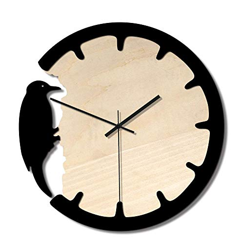 VBLSJ Los Relojes De Madera Antiguos Y Los Patrones Creativos De Pájaros Carpinteros Aportan Un Ambiente Vibrante Al Hogar, Negro
