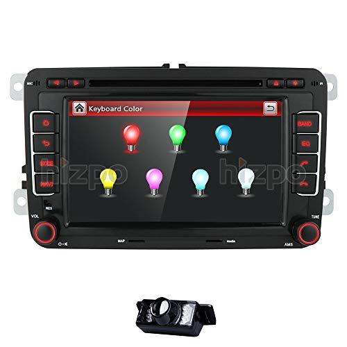 hizpo HD 7 Inch Double Din Car Stereo GPS DVD Navi for VW Golf Polo Passat Tiguan Jetta EOS+US Map+Camera Capacitive Screen