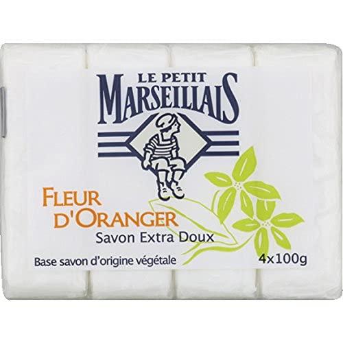 Le Petit Marseillais - Savon Extra Doux Fleur d'oranger, Base Savon d'Origine végétale - Les 4 savons de 100g - (pour la quantité Plus Que 1 Nous Vous
