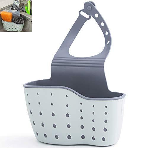 guoqunshop Stainless Steel Colander Adjustable Sink Filter Basket Multifunctional Hanging Soap Sponge Rack Sink Hanging Bag for Kitchen and Bathroom (15 * 5 * 22cm) Strainers (Color : Blue)