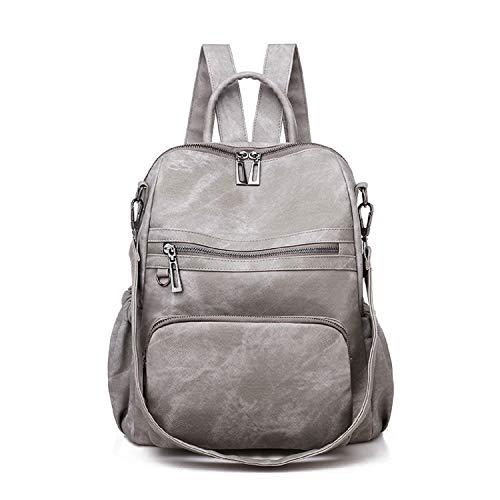 Moda mochila monedero para mujer cuero grande convertible mochila y hombro bolsos bolsa de viaje - gris - Large
