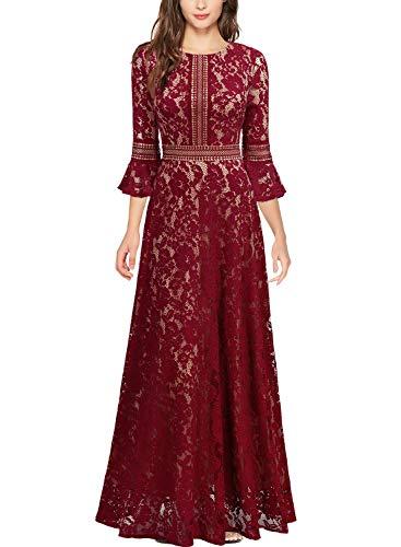 Miusol Vintage Encaje Slim Cóctel Vestido Largo para Mujer