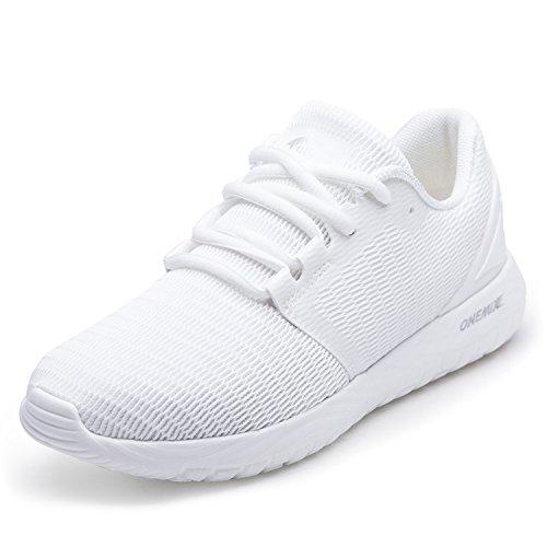 ONEMIX Zapatillas de Deporte para Hombre Calzado Deportivo para Correr Zapatillas Ligeras Transpirables Blanco 46