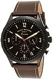 Fossil Forreste FS5608 Montre chronographe pour Homme Cadran Noir avec boîtier en Acier Inoxydable et Bracelet en Cuir Marron