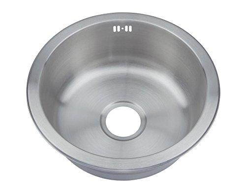 Grand Taps Okrągła miska matowa szczotkowana stal nierdzewna wstawiona zlewozmywak kuchenny i zestaw odpadów (M07 bs)